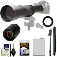 Vivitar 650-1300mm f/8-16 Telephoto Lens with 2x Teleconverter (=2600mm) + LP-E8 Battery + Monopod Kit for Canon Rebel T3i, T4i, T5i Cameras
