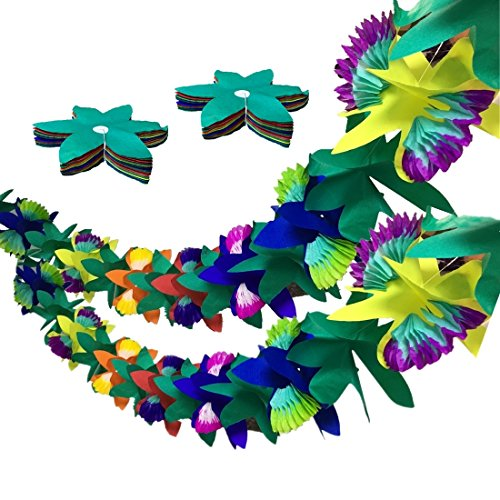 9ft Long Tissue Flower Lei Garland Paper Leaves Luau Garland for Tropical Decor Moana Party Luau-Themed Party Hawaiian Themed Birthday Party Jungle Party Decorations -