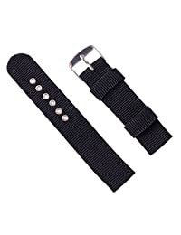 Classic Watch Straps 16mm 18mm 20mm 22mm 24mm Premium Replacement Nylon Watch Bands for Women Men Black