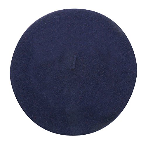 Parkhurst Women's Basque Beret - 100% Wool French Hat Cap - Navy