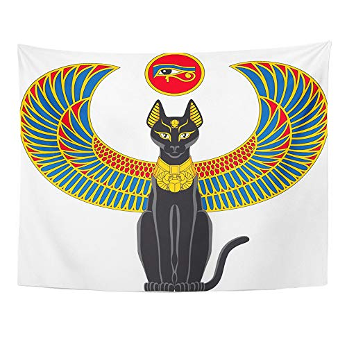 Emvency Tapestry Wall Hanging Black Egypt of Egyptian Cat with Wings White Scarab Beetle Culture Elegance 50