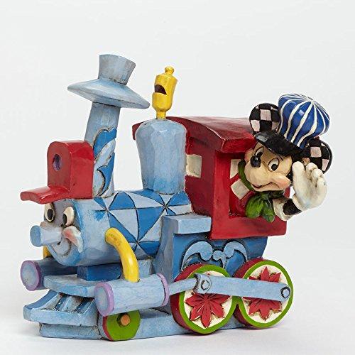 Disney Jim Shore All aboard the Birthday Train with Mickey Figurine, - Jims Trains