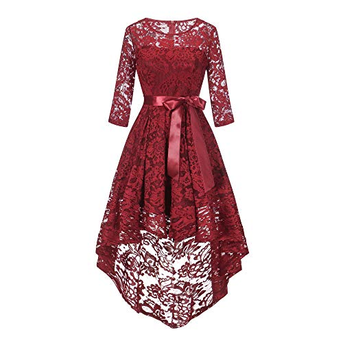 Outdoor Wedding Mother Of The Bride Dresses: Women's Floral Lace Asymmetrical Handkerchief Hem Cocktail