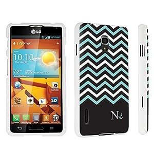 DuroCase ? LG Optimus F7 US780 / LG870 Hard Case White - (Black Mint White Chevron N)