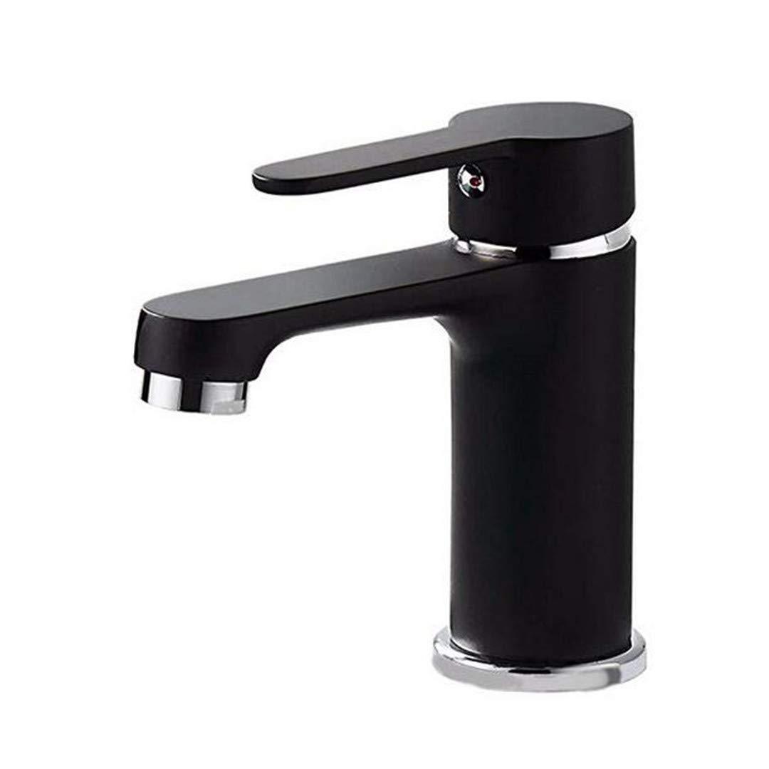 Basin Faucet Bathroom Sink Tap Copper Paint Black Bathroom Faucet Single Hole Basin Mixer Hot and Cold Water Bathroom Faucet