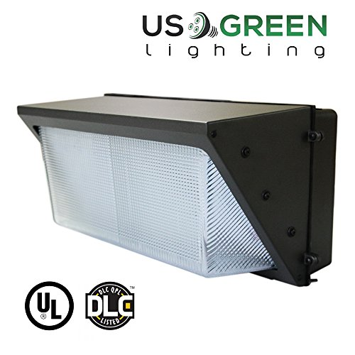100W LED Wall Pack with Built-in Photo Sensor/Cell (250-400 Watt HPS/HID Replacement) 5000K (Daylight), Commercial Grade, Glass Lens, Photocell Wallpack Lighting Fixture