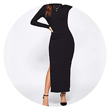 372275f409851 Black Solid Split Side Rib Knit Fitted High Neck Dress Elegant Women Dresses  at Amazon Women's Clothing store: