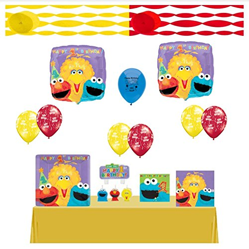 Sesame Street Birthday Party Supplies First Birthday and Balloon Kit Complete Ready for Party