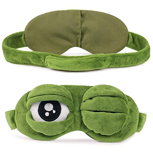 Kermit Funny Face (Party Diy Decorations - Portable Funny Cute Cartoon Sad Frog Eye Mask Cover Rest Sleeping Aid Gift 2019 - Decorations Party Party Decorations Frog Head Cover Mask Sleep Bandage Patch)