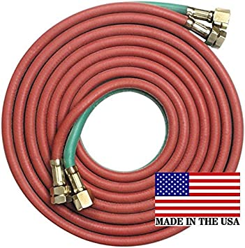 "Twin Welding Hose Grade R 50/' X 1//4/"" Oxygen Acetylene 50/' 1//4/"" BB Connection"