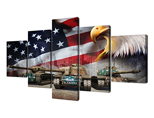 Yatsen Bridge Wall Pictures for Living Room Canvas Print Modern Painting 5 Piece Framed Posters and Prints American Flag Eagle Tanks Giclee Print Artwork Home Decorative Office (60''W x (5 Piece Tank)