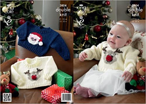 King Cole Baby Christmas Sweaters Comfort Dk Knitting Pattern 3804