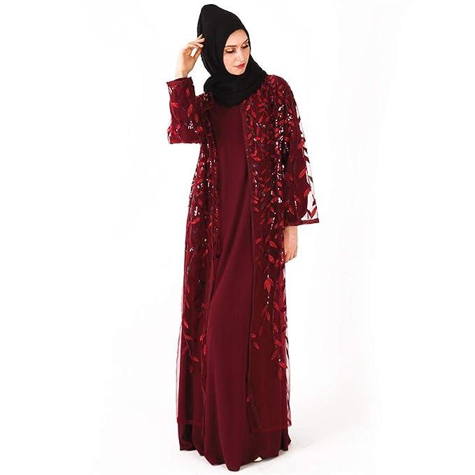 4ff0c96ff55 Amazon.com  YKARITIANNA Muslim Women Dress Islamic Long Sleeve Maxi ...
