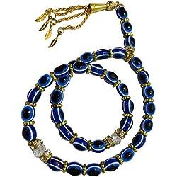 Tasbeeh Masbaha Sebha Tasbih Sibha Subha Rosary Muslim Islamic Islam 33 Worry Beads Prayer Beads 8mm Zikr Dhikr Thikr Salah Salat Namaz Allah Blue Hamsa Evil Eye 325