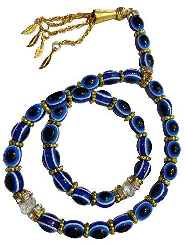 Tasbeeh Masbaha Sebha Tasbih Sibha Subha Rosary Muslim Islamic Islam 33 Worry Beads Prayer Beads 8mm Zikr Dhikr Thikr Salah Salat Namaz Allah Blue Hamsa Evil Eye (Muslim Worry Beads)