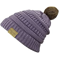 MINAKOLIFE BeanieTail Soft Stretch Cable Knit Messy High Bun Ponytail Beanie Hat (Purple)