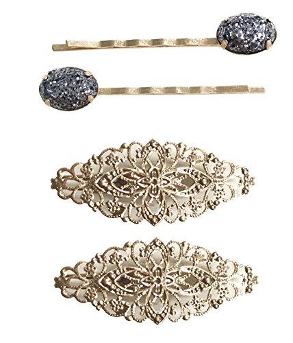 4 piece floral filigree hair pin set - Filigree Floral Pin