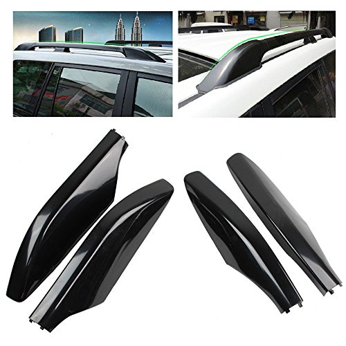 4 PCs ABS Roof Rack Bar Rail End Protection Cover Shell for 03-09 Toyota Land Cruiser Prado Fj120 Black