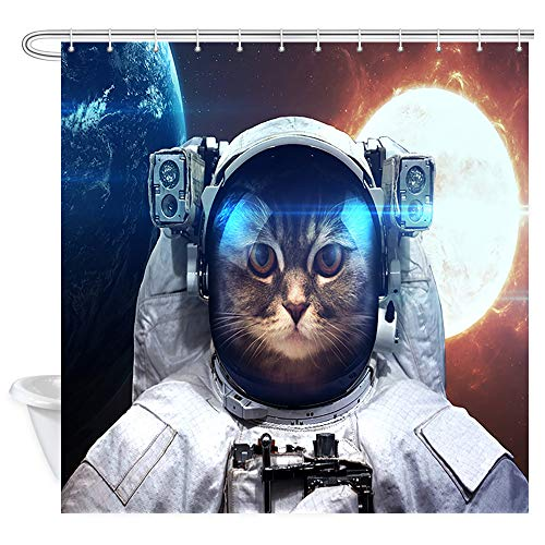 DYNH Galaxy Wallpaper Shower Curtain, Astronaut Cat in Outer Space Against Backdrop of Planet Earth Bath Curtains, Waterproof Fabric Shower Curtain for Bathroom 12PCS Hooks, 69X70 in ()