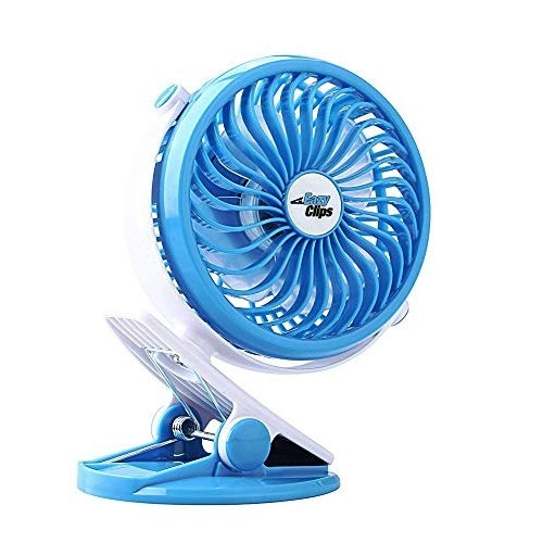 Clip on Fan, Battery Powered Fan [+ Extra Charging Battery], Rechargeable - Blue - by EazyClips