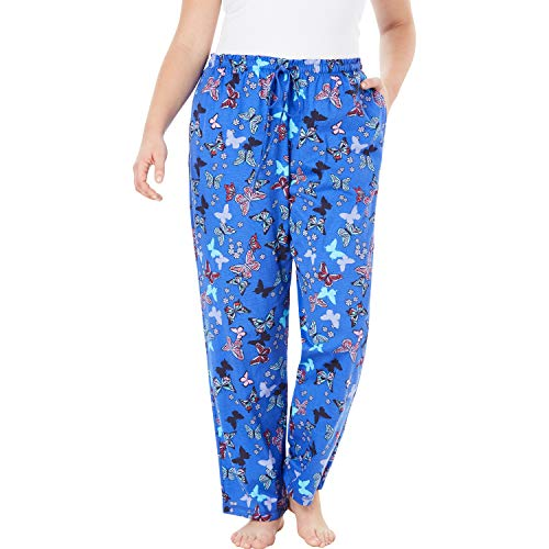 Dreams & Co. Women's Plus Size Knit Sleep Pant - True Blue Butterfly, M