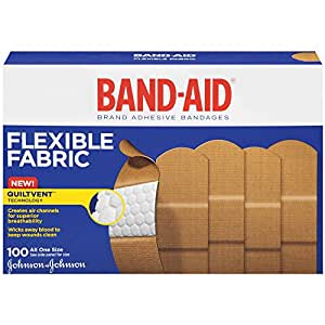 Band-Aid Brand Flexible Fabric Adhesive Bandages For Minor Wound Care, 100 Count