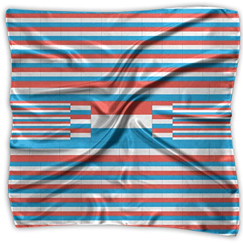 Square Satin Headscarf Luxemburg Flag Silk Like Lightweight Hair Wrapping Neck Square Scarfs Large
