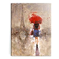 Canvas Prints Yellow Umbrella Walking on Paris Canvas Wall Painting Prints Modern Landscape Oil Paintings Wall Art for Office & Home Decoration -P1L010 ¡