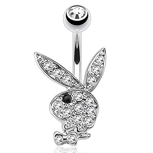 (Pierce2GO Playboy 14G 316L Surgical Steel Belly Button Ring Mixed Colors 3/8