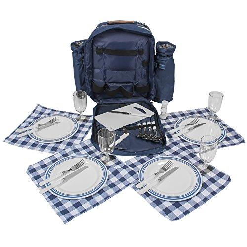 Picknick-Rucksack-mit-Geschirr-u-Thermofach-fr-4-Personen