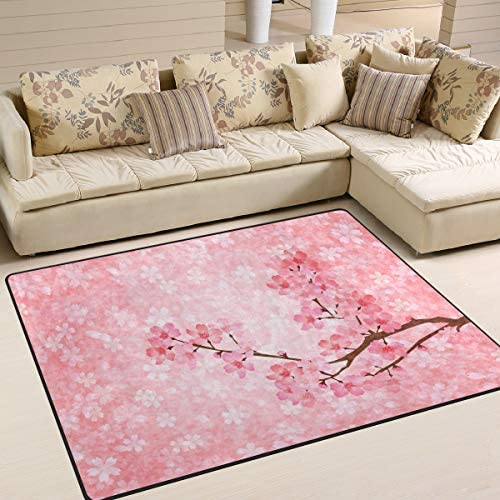 ALAZA Spring Cherry Blossom Sakura Japanese Area Rug Rugs for Living Room Bedroom 7 x 5