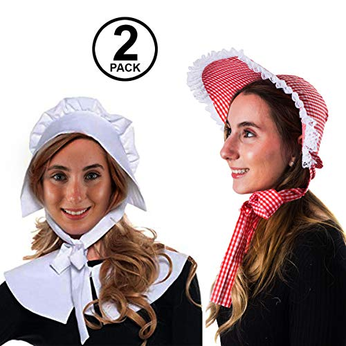 Tigerdoe Mob Cap - White Mop Hat Bonnet Colonial Costume Accessory, Revolutionary Dress up (2 Pack Bonnets) -