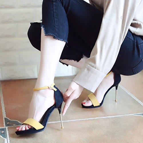 de Casual Europeo Verano Toe con de YMFIE de tacón Tobillo yellow Lady Toe y Estilo Moda Hueco Zapatos Sandalias xwE5qHYq