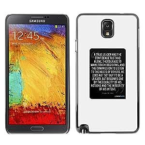 FlareStar Colour Printing Poster Black White Text Inspiring Quote cáscara Funda Case Caso de plástico para SAMSUNG Galaxy Note 3 III / N9000 / N9005