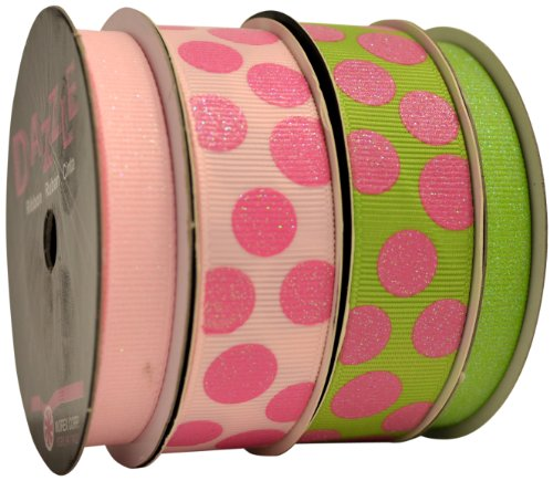 Morex Ribbon Dazzle Glittered Grosgrain 3/8-Inch by 8-Yard and 7/8-Inch by 4-Yard Spools 4-Pack Ribbon, 24-Yard, Spring
