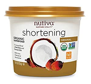 Nutiva USDA Certified Organic, non-GMO Fair for Life Red Palm and Coconut Shortening, 15-Ounces