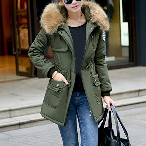 De Algodón Acolchado Largas Ejercito Con Abrigo Verde Mujer Cordón Ropa Capucha Chaquetas Toamen CnvzO5wxq