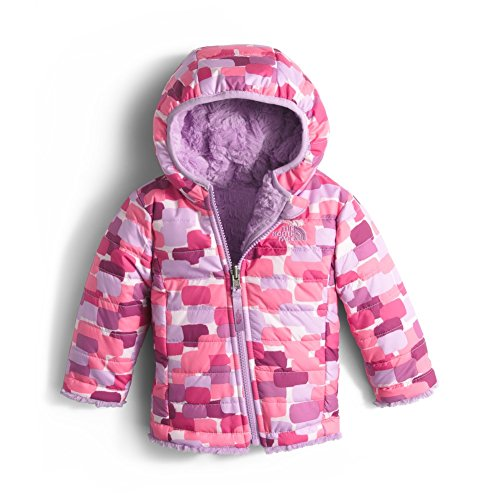 The North Face Infant Reversible Mossbud Swirl Hoodie Girls' (12-18M, Cabaret Pink Block Print) (Baby North Face Sweatshirt)