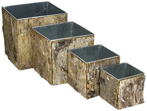 CYS Zinc Pot with Natural Birch Wood Wrap Zinc Cube Vases (Set of 4 pcs) - Natural Birch Kitchen Set