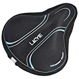 Lacyie Comfortable Exercise Bike Seat Cover Large Wide Foam & Gel Padded Bicycle Saddle Cushion for Women Men, Fits Spin, Stationary, Cruiser Bikes, Indoor Cycling