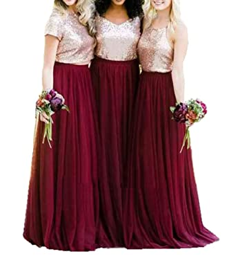 97f16457 Amazon.com: Special Bridal Two Piece Wedding Bridesmaid Dress Floor Length  Gold Sequins Red Dress: Clothing
