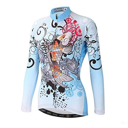 (DuShow Women Bike Bicycle Cycling Long Sleeve Jersey Top Shirt (M,Blue))