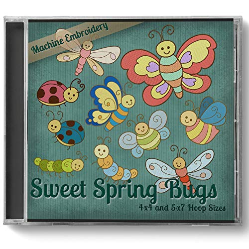 (Sweet Spring Bugs Embroidery Machine Designs on CD - 10 Beautiful Patterns - 2 Sizes Each - PES JEF EXP XXX VIP HUS DST)