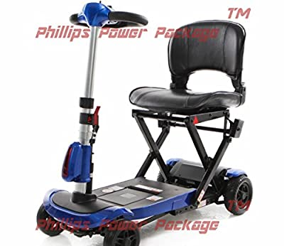 Solax Mobility - Genie+ Automatic Folding Scooter - 4-Wheel - Blue - PHILLIPS POWER PACKAGE TM - TO $500 VALUE