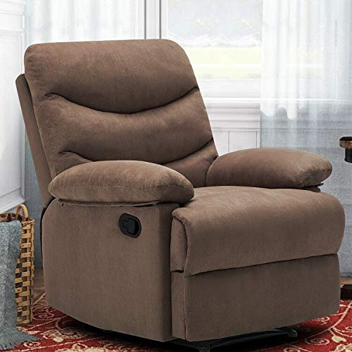 FRIVITY Chair Recliner, Microfiber Ergonomic Sofa Living Room Sofa Home Theater Seating Fit for Elder Age, Brown