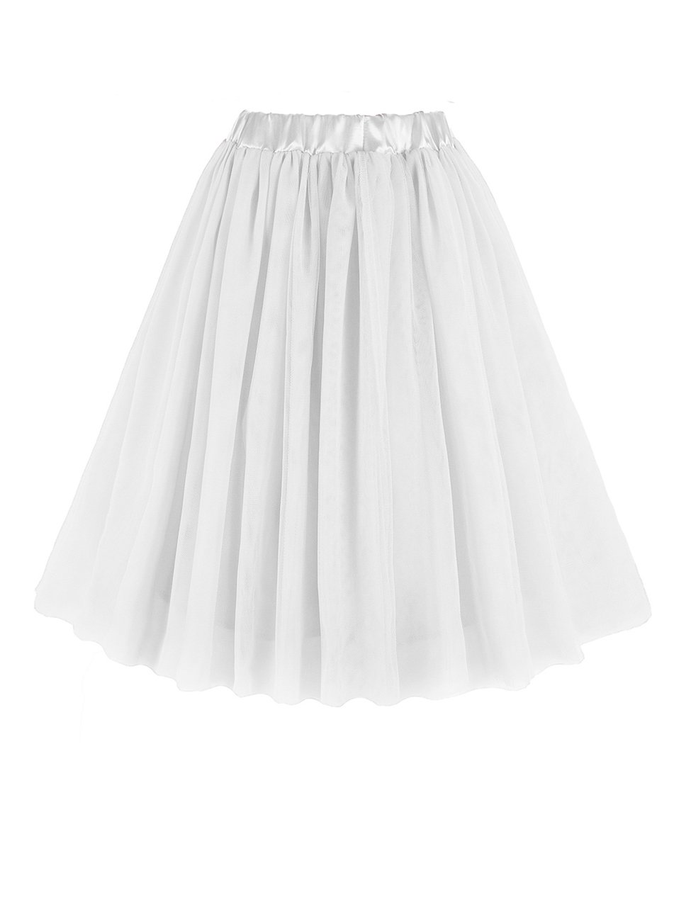 v28 Women Girls Junior Pleated Tulle Tutu Ballet Midi Elastic Skater Dance Skirt