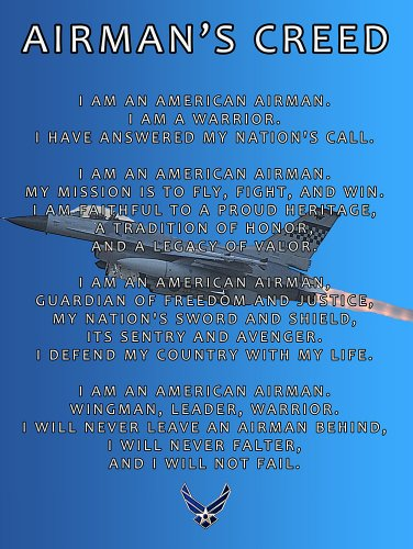 US Air Force Creed Poster USAF Creed Air Force Gifts USAF 18X24 (AFC3)