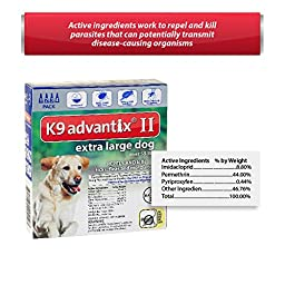 Bayer K9 Advantix II, Flea And Tick Control Treatment for Dogs, Over 55 Pound, 4-Month Supply