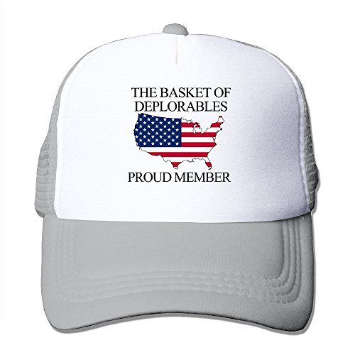 [GD54 Proud Member Of The Basket Of Deplorables Funny Trucker Hat With Mesh Caps Ash] (Funny Hats For Sale)
