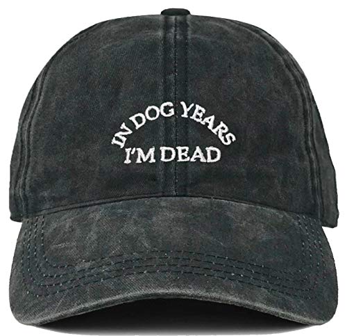 (H-214-DYD70 Dad Hat Unconstructed Baseball Cap - In Dog Years Im Dead)